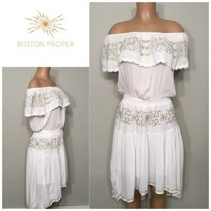 Boston Proper gold and silver embroidered dress